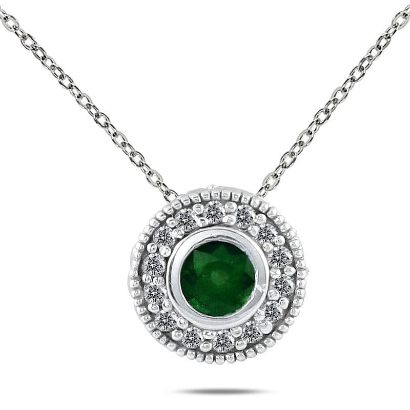 Marquee Jewels 10k White Gold and Silver Emerald and 1/6ct TDW Diamond Necklace (I-J, I1-I2)