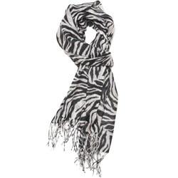 Zero Zero Women's Black/White Zebra-print Hand-knotted Rayon Scarf