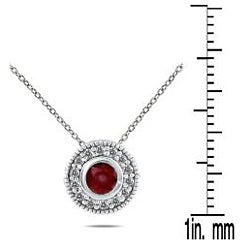 Marquee Jewels 10k White Gold Ruby and 1/6ct TDW Diamond Necklace (I-J, I1-I2) - Thumbnail 2