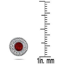 Marquee Jewels 10k White Gold Ruby and 1/3ct TDW Diamond Earrings (I-J, I1-I2) - Thumbnail 2