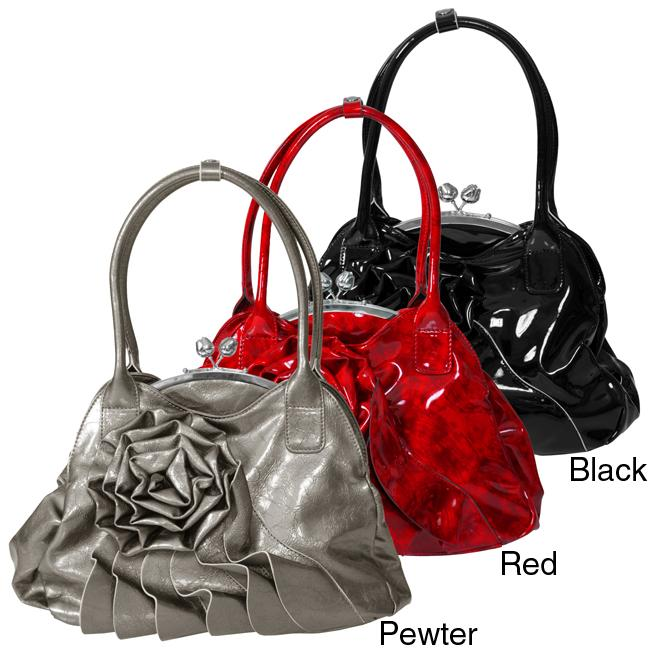 Adi Designs Women X27 S Rosette Metal Frame Clasp Handbag