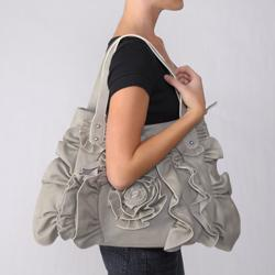 Adi Designs Women's Ruffle and Floral Tote Bag - Thumbnail 2