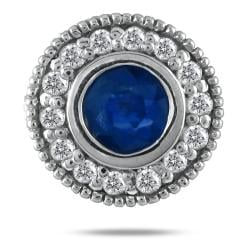 Marquee Jewels 10k White Gold Sapphire and 1/3ct TDW Diamond Earrings (I-J, I1-I2)