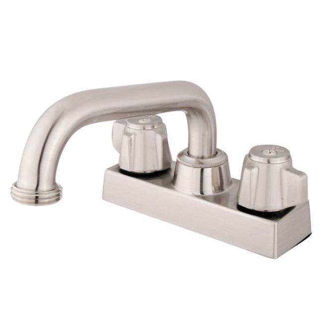 Shop Double Handle 4 Inch Centerset Satin Nickel Bathroom Faucet Satin Nickel Free Shipping