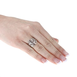 Sterling Essentials Rhodium Plated Silver Filigree Ring