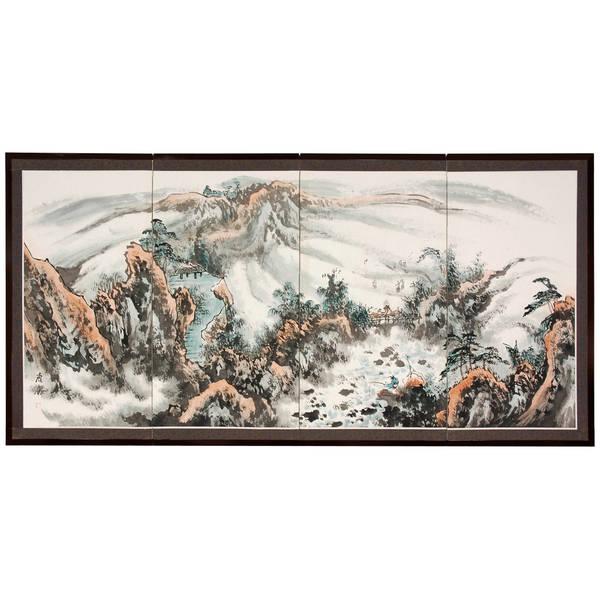 Handmade Silk Mountaintop Landscape Screen