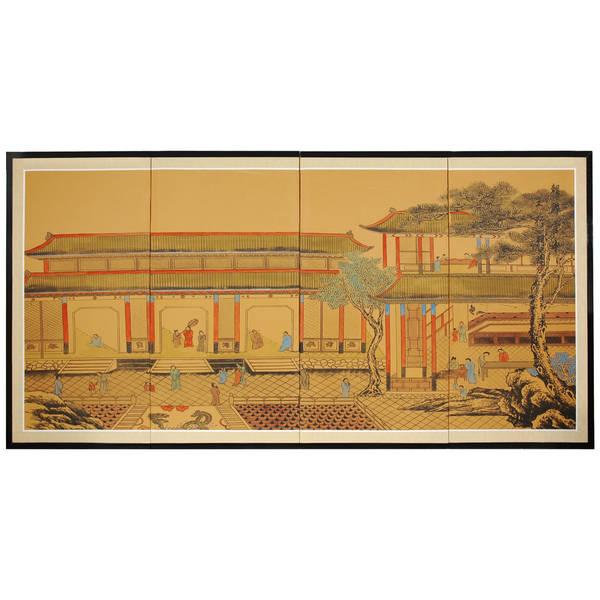 Handmade Dynasty Courtyard Silkscreen (China)