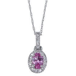 Sofia 10k Gold Created Pink Sapphire and 1/10ct TDW Diamond Necklace (H-I, I1-I2)