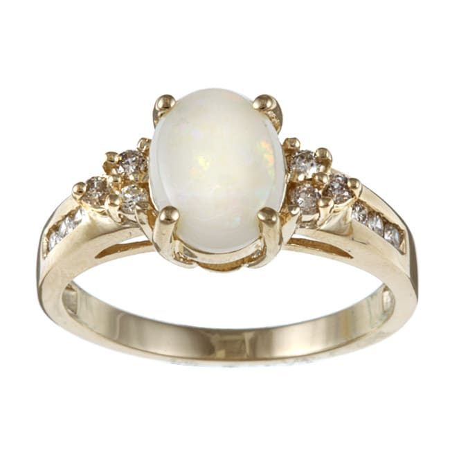 Sofia 10k Yellow Gold Opal and 1/5ct TDW Diamond Ring (J-K, I2-I3) - Thumbnail 0