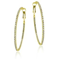 Icz Stonez 18k Gold over Sterling Silver Cubic Zirconia Large Hoop Earrings