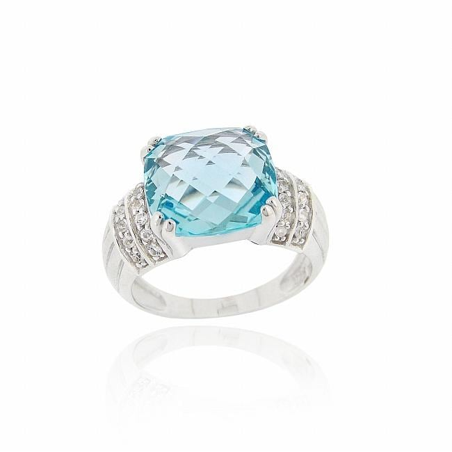 Glitzy Rocks Sterling Silver Blue Topaz and Cubic Zirconia Cocktail Ring - Thumbnail 0