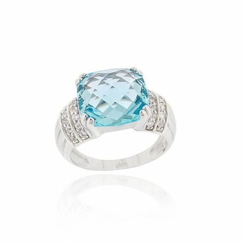 Glitzy Rocks Sterling Silver Blue Topaz and Cubic Zirconia Cocktail Ring