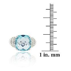 Glitzy Rocks Sterling Silver Blue Topaz and Cubic Zirconia Cocktail Ring - Thumbnail 2
