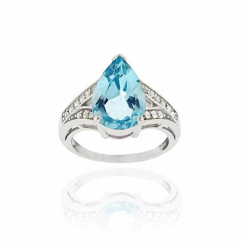 Glitzy Rocks Sterling Silver Pear-cut Blue Topaz and Cubic Zirconia Cocktail Ring