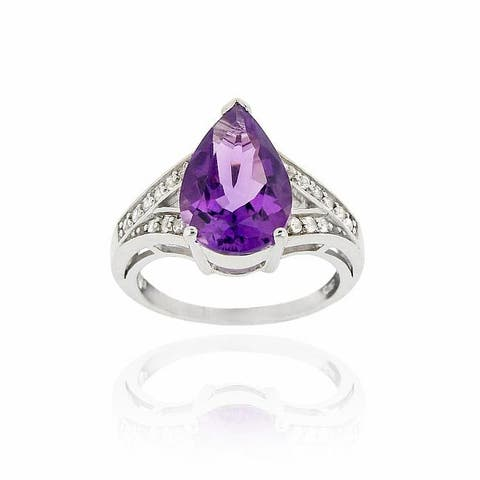 Glitzy Rocks Sterling Silver Pear-cut Amethyst and Cubic Zirconia Cocktail Ring