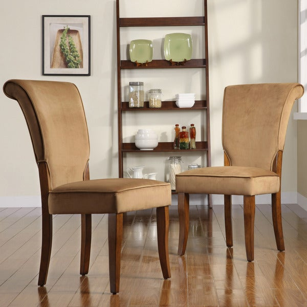 TRIBECCA HOME Andorra Peat Velvet Upholstered Dining Chair (Set of 2)