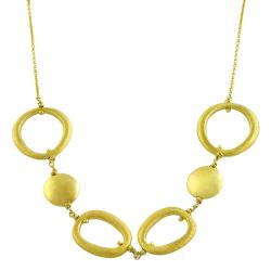Goldkist 18k Yellow Gold over Silver Polished/ Satin Link Necklace