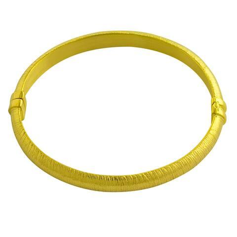 GoldKist 18k Yellow Gold over Silver Brushed Bangle Bracelet