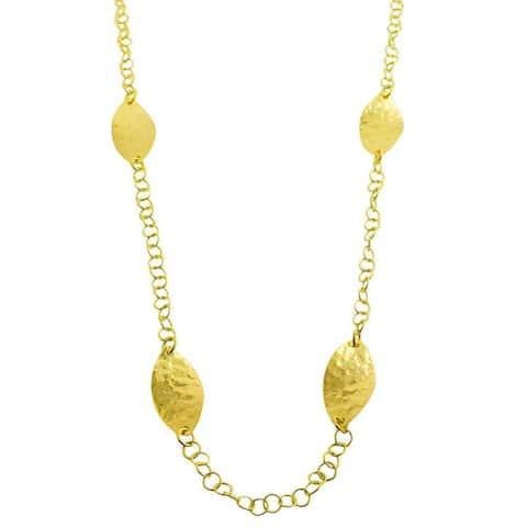 Fremada 18k Yellow Gold over Silver Hammered Leaf Station Necklace