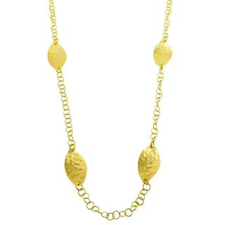 Fremada 18k Yellow Gold over Silver Hammered Leaf Station Necklace