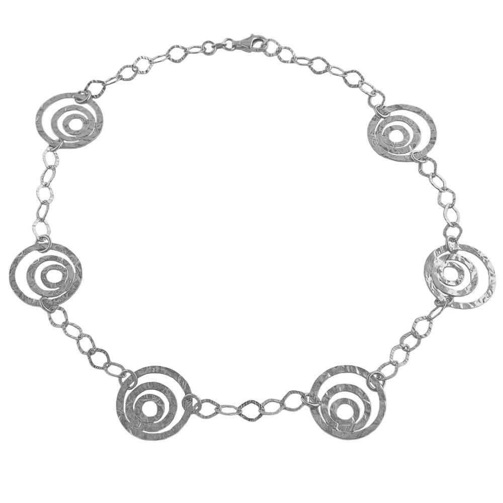 Fremada Rhodiumplated Silver Hammered Multi-circle Station Necklace