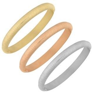 Fremada Rose Gold over Silver Brushed Bangle Bracelet