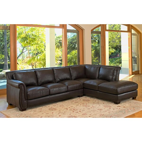 Lancaster Italian Leather Sectional Sofa - Free Shipping Today