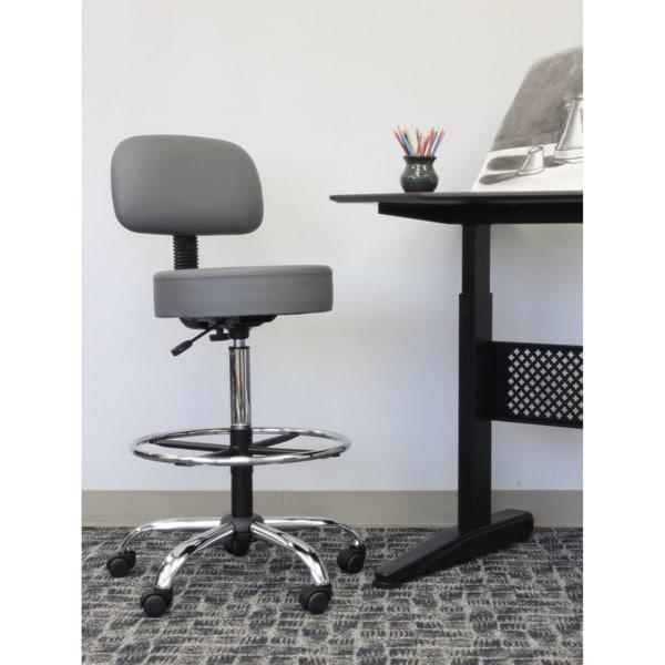 Boss Caressoftplus Drafting Stool With Back Cushion