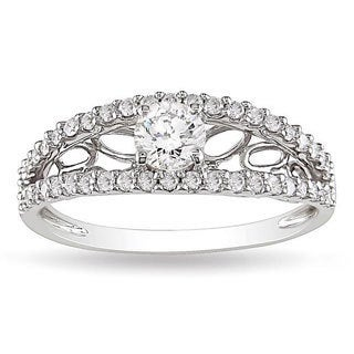Miadora 10k White Gold 5/8ct TDW Diamond Ring