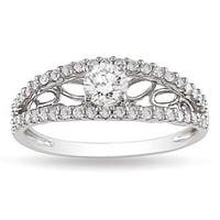 Miadora 10k White Gold 5/8ct TDW Diamond Ring