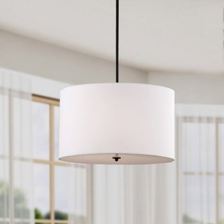 Indoor 4-light White Shade Pendant Chandelier - N/A