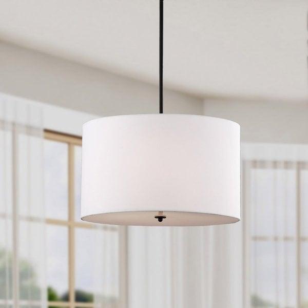Indoor 4-light White Shade Pendant Chandelier
