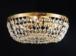 Antique Copper and Crystal 3-light Flush Mount Chandelier