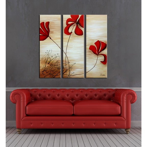 'Red Flowers' Hand Painted Art Set