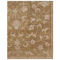 Hand-knotted Ankara Brown Floral Wool/ Viscose Rug (5'6 x 8'6)