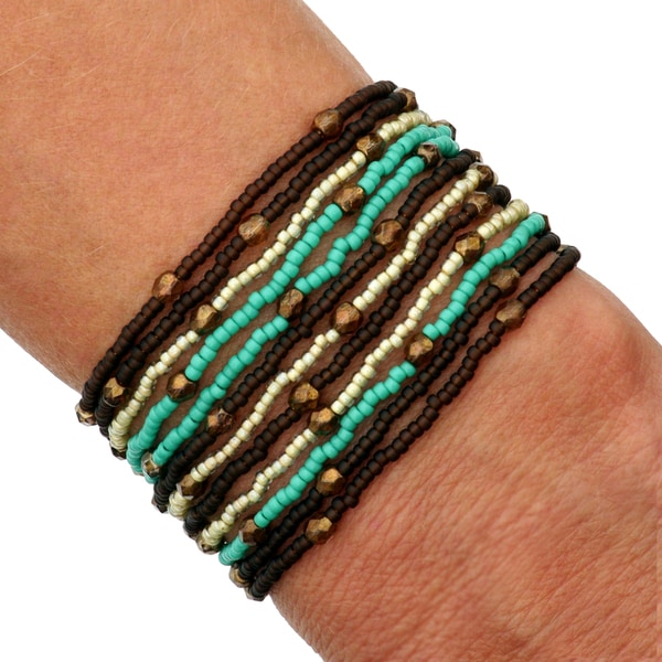 'Misha' Cocoa Mint Glass and Crystal Bead Bracelet (Guatemala)