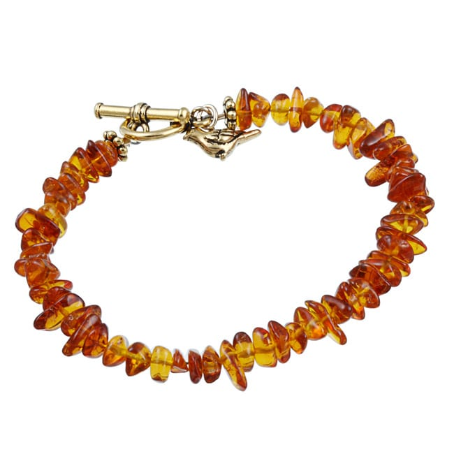 Lola's Jewelry Amber Chip Bird Charm Toggle Bracelet