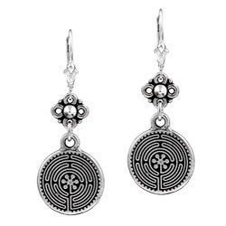 Charming Life Silver Sacred Labyrinth Earrings