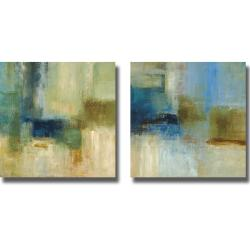 Simon Addyman 'Green and Blue Abstract' 2-piece Canvas Art Set