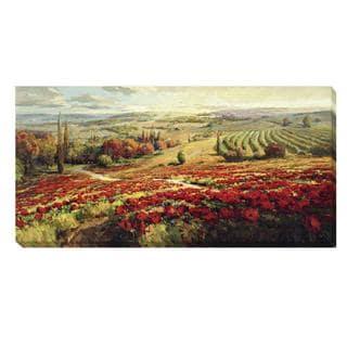 Roberto Lombardi 'Red Poppy Panorama' Canvas Art
