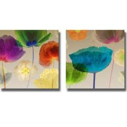 Robert Mertens 'Poppy Panorama I and II' 2-piece Canvas Art Set