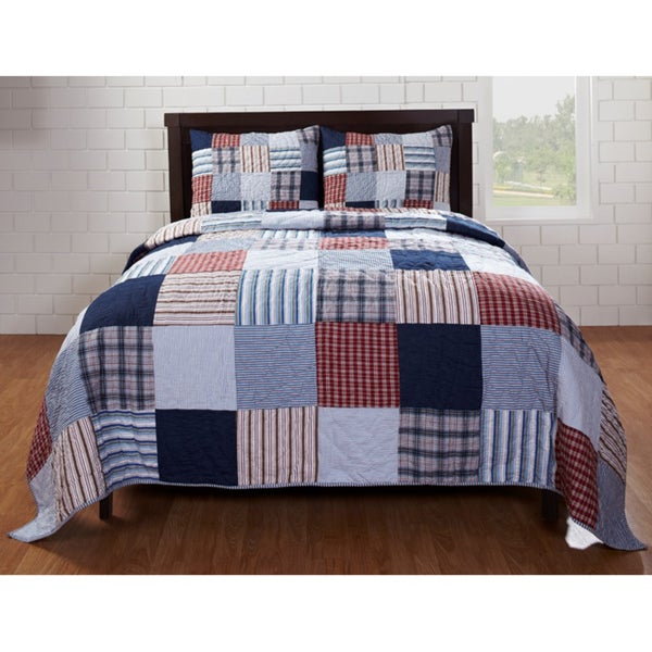 Bradley Red/ Blue Patch 3-piece Quilt Set - Free Shipping Today ... : bradley quilt set - Adamdwight.com