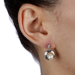 Kabella Sterling Silver Freshwater Pearl and Cubic Zirconia Circular Earrings (6-7 mm)