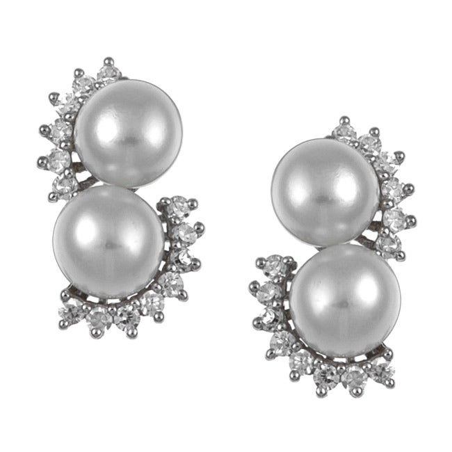 Kabella Sterling Silver Freshwater Pearl and Cubic Zirconia Earrings (6-7 mm)