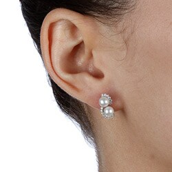 Kabella Sterling Silver Freshwater Pearl and Cubic Zirconia Earrings (6-7 mm) - Thumbnail 2