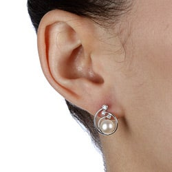 Elegant Kabella Sterling Silver Freshwater Pearl and Cubic Zirconia Earrings (6-7 mm) - Thumbnail 2