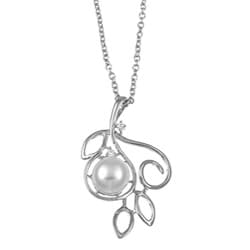 Kabella Sterling Silver Button-Shaped Freshwater Pearl and Cubic Zirconia Necklace (8-9 mm)