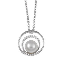 Kabella Sterling Silver Freshwater Pearl and Cubic Necklace (8-9 mm)