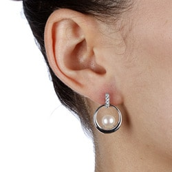 Kabella Sterling Silver Freshwater Pearl and Cubic Zirconia Earrings (7-8 mm) - Thumbnail 2