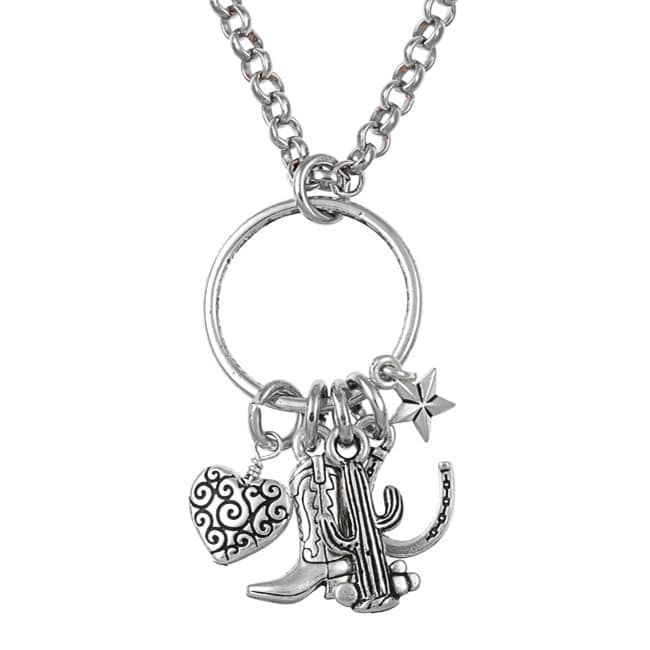 Lola's Jewelry Pewter and Silvertone 'Western Cowgirl' Charm Necklace